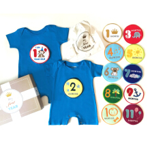 J BABY My First Year Romper Set Blue
