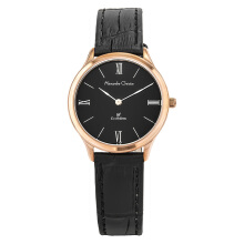 Alexandre Christie Classic AC 8478 LH LRGBA Ladies Black Dial Black Leather Strap [ACF-8478-LHLRGBA]