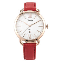 Alexandre Christie AC 2674 LD LRGSLRE Ladies White Pattern Dial Red Leather Strap + Extra Strap [ACF-2674-LDLRGSLRE]
