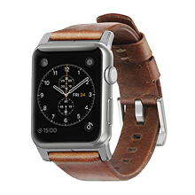 Nomad Horween Leather Strap for Apple Watch 42MM - Modern Build - Silver