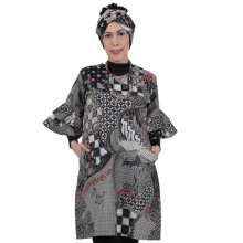 SHE BATIK Dress Batik Tulis Pias Lawasan - Black Grey