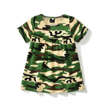New 2018 Summer Girl Dress Cute Baby Short Sleeve Camouflage Pattern Cotton Kids Dress