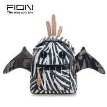 FION Jacquard with Leather Backpack - Black & White Others