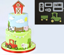 [COZIME] 4 pcs/set Small Tractor Cookie Cutter Plastic Fondant Cake Print Cut Birthday Party Cake Decoration Mold Baking Tool White