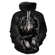 BESSKY Unisex 3D Printed Wolf Pullover Long Sleeve Hooded Sweatshirt Tops Blouse_