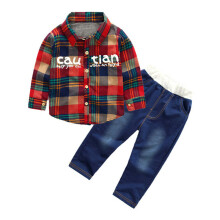 BESSKY Kids Infant Baby Boy Girl Letter Plaid T-shirt Tops Denim Pants 2Pcs Set Outfits_