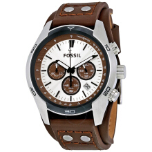 Fossil CH2565D46H1340CKTSLP Chronograph Jam Tangan Pria Leather Strap - Cokelat/Silver Brown