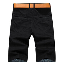 Summer Men's Casual Shorts Pants Solid Color Multi Pockets Leisure Cotton Cargo Shorts-Black-30
