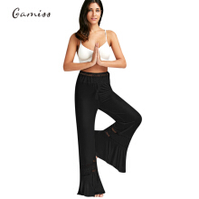 Fashionmall Gamiss Women'S Casual Lace Panel High Waisted Palazzo Pants