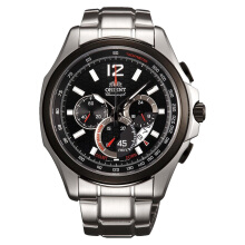 Orient Sport Chronograph Men Watch Black Dial Stainless Steel [FSY00001B] Silver