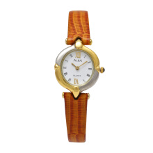 ALBA Jam Tangan Wanita - Brown Silver Gold White - Leather Strap - ARYJ92