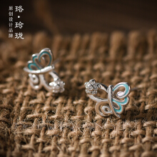 Luo Ling Long Silver butterfly double ear studs