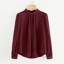 BESSKY Women Summer Fold Loose Casual Chiffon Long Sleeve Shirt Tops Blouse_