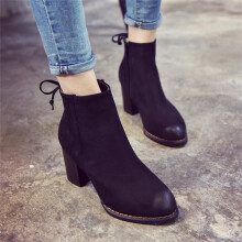BESSKY Women's Fashion Ankle Boots Flock Square Heels Casual Boots_