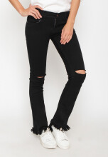 Marigold Ripped Black Ladies Mid Bell Tassel Jeans - Stretch