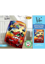 Selimut Vito Kids Sutra Panel Cars 100x140cm - Orange