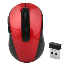 Optical Mouse With USB Compact Mice Wireless 2.4GHz Mouse For Laptop PC Red