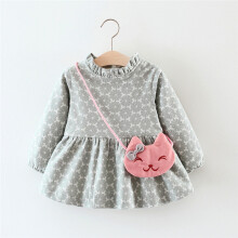 BESSKY Newborn Baby Girl Print Warm Long Sleeve Princess Dress+Bag Outfits Clothes_