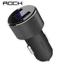 ROCK LCD Digital Display Dual USB Car-Charger Universal 3.4A LED 2 USB Car Charger adapter for Mobile Phones for Tablet PC