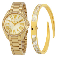 Michael Kors Kacie Gold Sunray Dial Gold-tone Stainless Steel Gift Set [MK3568SET]