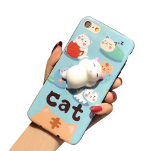 BESSKY Cute Squishy 3D Lazy Cat Soft Silicone Back Case Cover for iPhone 6 Plus/6s Plus 5.5inch_ Multicolor