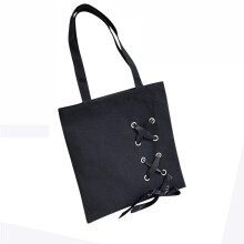 BESSKY Women's Casual Lace-up Canvas Tote Female Single Shoulder Bags_