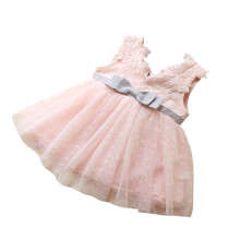 BESSKY Bowknot Girls Lace Princess Bridesmaid Pageant Lace Tutu Tulle Gown Dress_