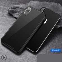 Ins V-70 Surface Glass back mirror treatment silicone anti-fall super thin IPHONE X case cover- Black