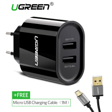UGREEN Dual Ports Charger for Xiaomi Redmi Samsung ASUS Zenfone LG Handphone hp 5V 3.4A Universal USB Wired Wall Charger + Free 100CM Micro USB Cable