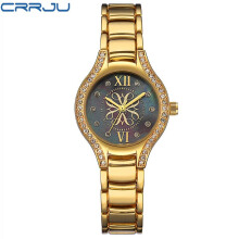 CRRJU Women Watches Fashion Brand Japan Quartz Gold Ladies Watch Women Stainless Steel Waterproof Relogio Feminino Montre Femme