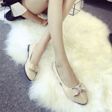 BESSKY Women Round Toe Ladise Shoes Casual Bowknot Rhinestone Low Heel Flat Shoes_