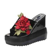 BESSKY Women Thick-Bottom Sloped Slippers Embroidered High-Heeled Wedges Platform Shoes_