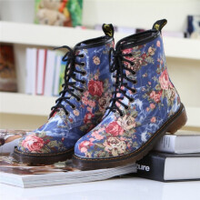 BESSKY Women Ladies Soft Flat Ankle Floral Print Martin Shoes Female Lace-Up Boots_