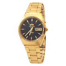 Orient Classic 3 Stars Crystal Automatic Men Black Dial Rose Gold Stainless Steel Strap [SEM0801EB] Gold