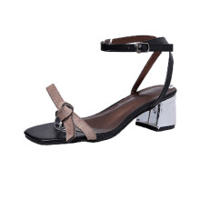 BESSKY Summer Sandals Open Toe Women Thick Heel Shoes Gladiator Shoes Wedding Shoes_