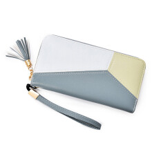 BESSKY Women Fahion Tassel Patchwork Long Wallet Coin Purse Card Holders Handbag_