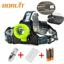 Boruit Upgraded B11 XM-L T6 LED Headlamp Rechargeable Zoomable Head Light Headlight  18650 PCB Batteries Micro USB Green