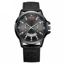 HANNAH MARTIN Men's Leather Strap Watch 6011