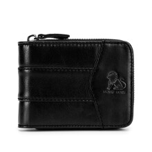 Laoshizi(old lion) Vintage RFID Antimagnetic Genuine Leather 13 Card Slots Coin Bag Trifold Wallet For Men Black
