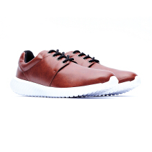 09632-Leather Sports Shoes Sneakers-Brown
