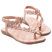 BESSKY Summer Bohemia Sweet Beaded Sandals Clip Toe Sandals Beach Shoes _