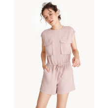 Twin Pockets Sleeveless Romper - Pink