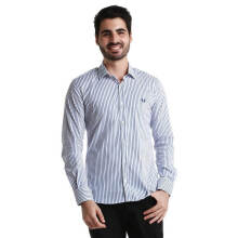 Fredperry Men- White Long Sleeve Shirt wt Slip Thick Stripes L