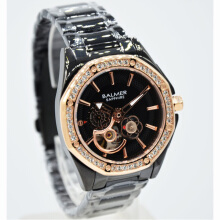 Balmer Shappire Crystal Stainless Steel Chain Ladies B.7981LRB-2180D37HTRG Small Second Hitam Rosegold Black