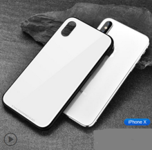 Ins V-71 Surface Glass back mirror treatment silicone anti-fall super thin IPHONE X case cover- White