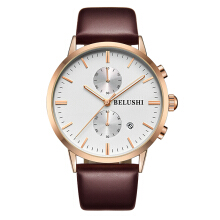 BELUSHI Men's Leather Strap Quartz Watch MF522