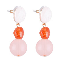 VOITTO Fashion Jewelry Stone Drop D2 Earrings [Orange]