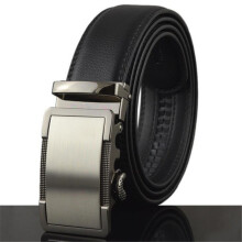 Men'S Business Automatic Buckle Leather Belt Black