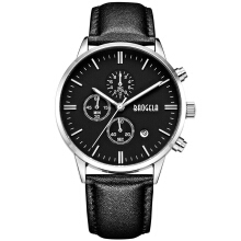 BAOGELA Men's Leather Strap Quartz Watch 1706 - Black