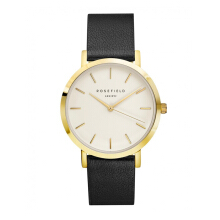 ROSEFIELD The Gramercy Gold White Dial Watch with Black Strap [GWBLG-G32]